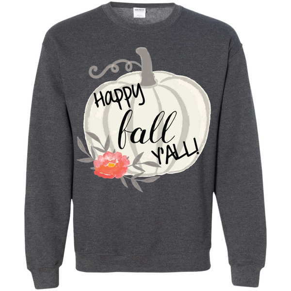 Happy Fall Y'all Watercolor Pumpkin Crewneck Sweatshirt Dark Grey