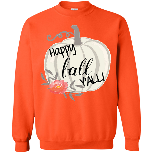 Happy Fall Y'all Watercolor Pumpkin Crewneck Sweatshirt Orange
