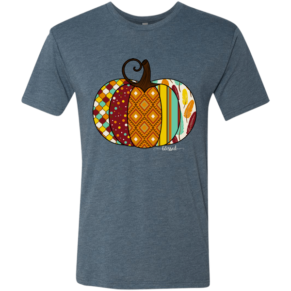 Blessed Fall Women's Distressed Pumpkin Tee Shirt Indigo