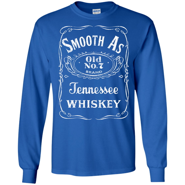 Smooth as Tennessee Whiskey Long Sleeve Tee Shirt Blue