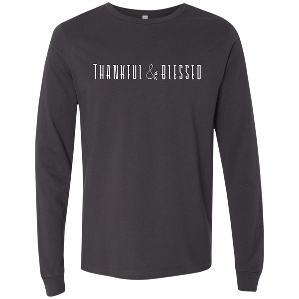 Thankful and Blessed Soft Long Sleeved Tee Dark Grey