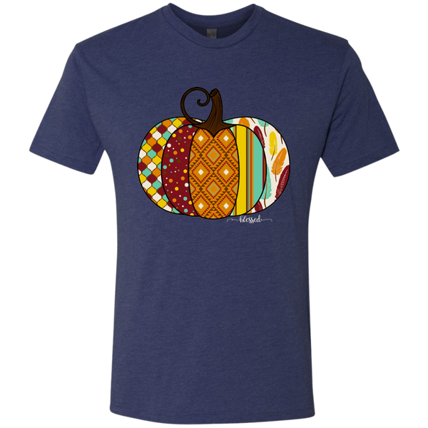 Blessed Fall Women's Distressed Pumpkin Tee Shirt Navy