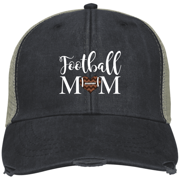 Football Mom Distressed Trucker Hat Cap Heart Black
