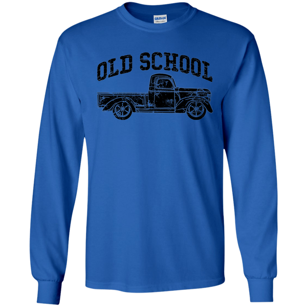 Old School Vintage Distressed Antique Truck Long Sleeve Tee Blue