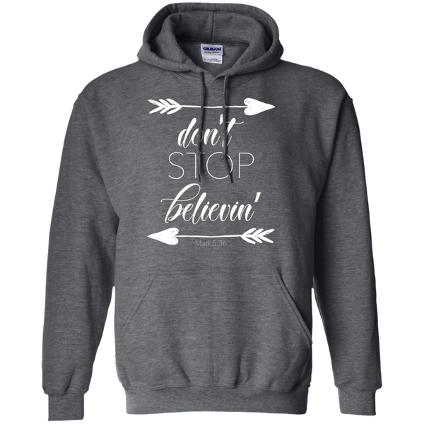 Don't stop believin' Mark 5:36 arrows flowy hoodie sweatshirt dark grey