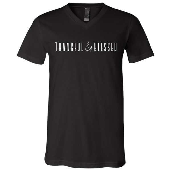 Thankful and Blessed Soft V-Neck Tee