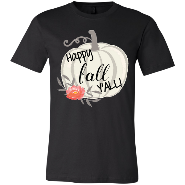 Happy Fall Y'all Watercolor Pumpkin Soft Tee Shirt Black