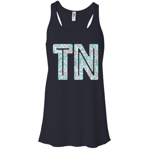 Paisley Tennessee Flowy Racerback Tank Top Navy