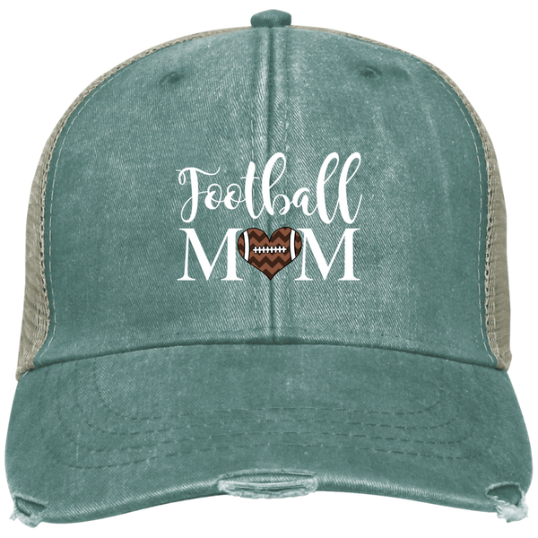 Football Mom Distressed Trucker Hat Cap Heart Blue