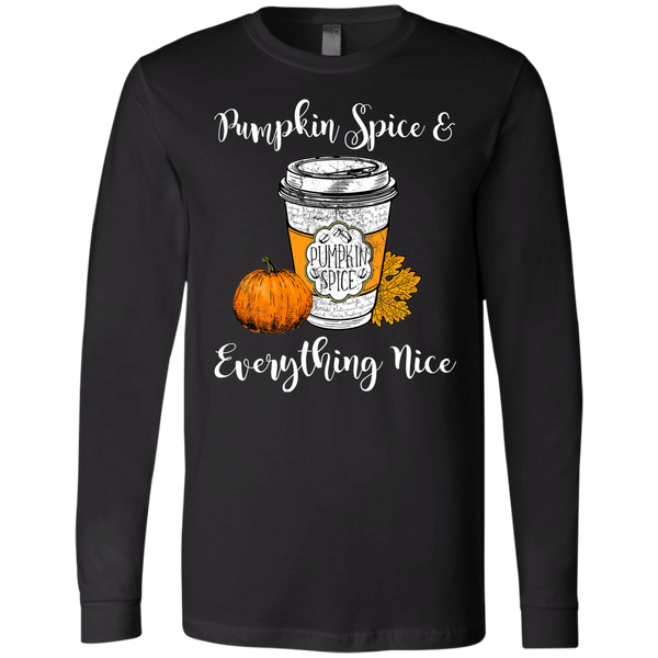 Pumpkin Spice and Everything Nice Soft Long Sleeve Tee Black