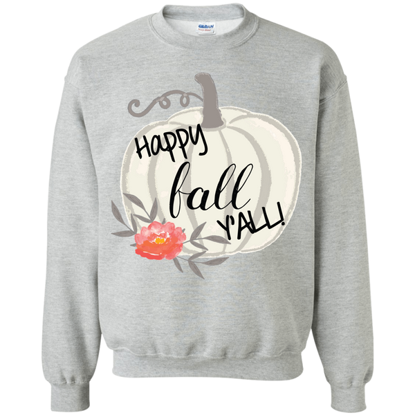 Happy Fall Y'all Watercolor Pumpkin Crewneck Sweatshirt Sports Grey