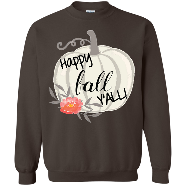 Happy Fall Y'all Watercolor Pumpkin Crewneck Sweatshirt brown