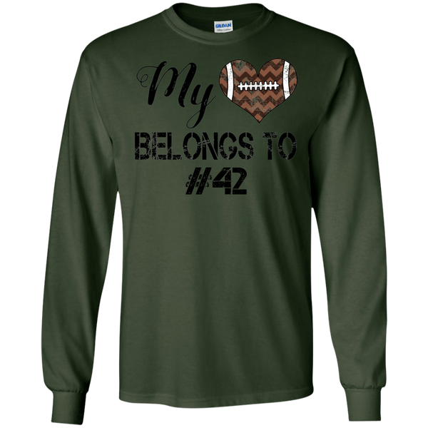 My Heart Belongs To Personalized Football Long Sleeve Tee Forest Green
