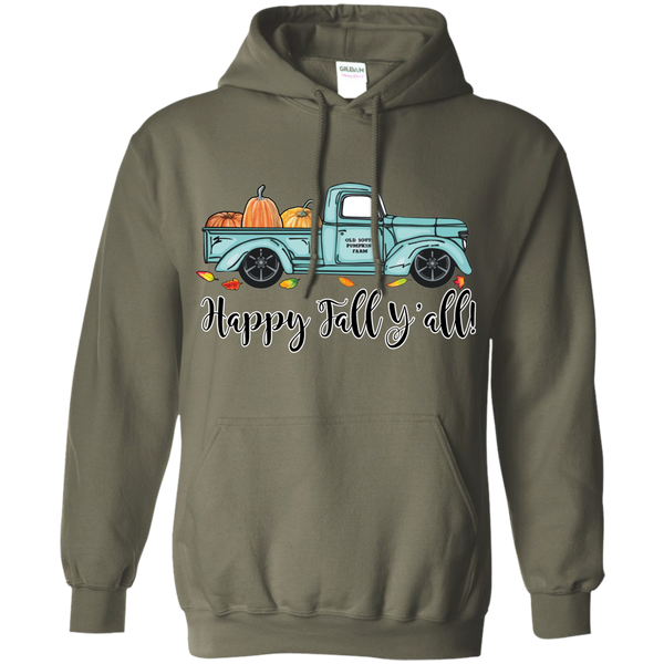 Happy Fall Y'all Pumpkin Farm Truck Hoodie Sweatshirt Military Green