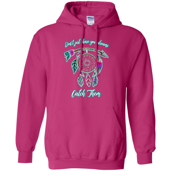 Chase catch your dreams inspirational dreamcatcher hoodie sweatshirt hot pink