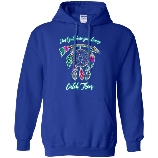 Chase catch your dreams inspirational dreamcatcher hoodie sweatshirt blue