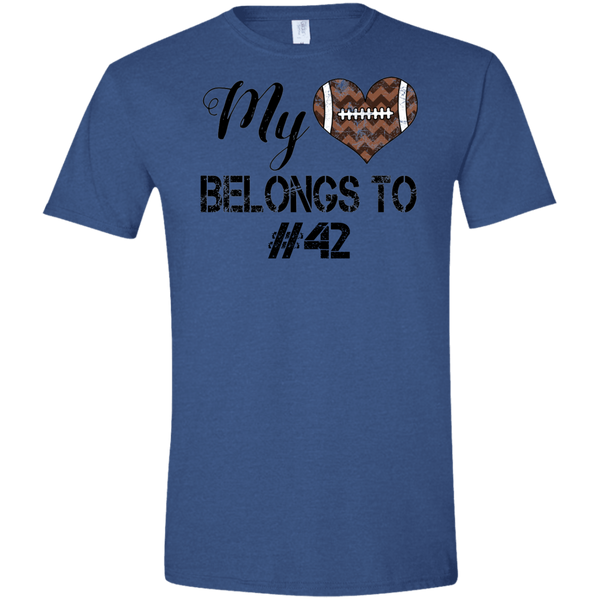 My Heart Belongs to Personalized Football Tee Shirt Heather Blue