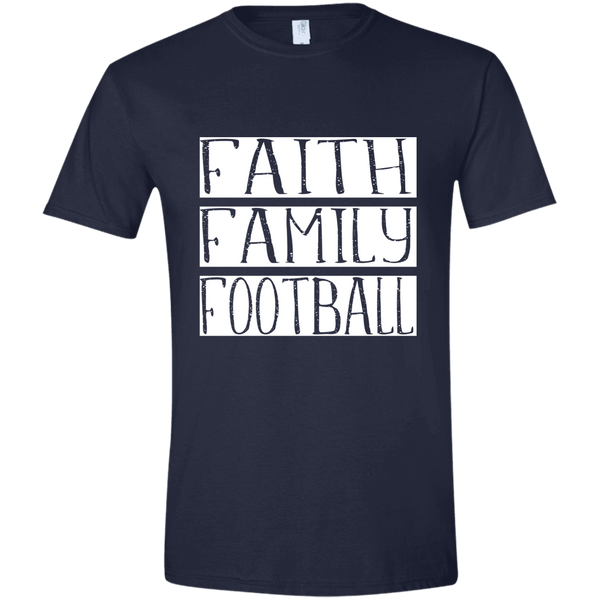 Faith Family Football Soft Tee Shirt Navy