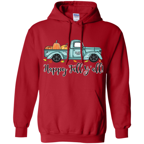 Happy Fall Y'all Pumpkin Farm Truck Hoodie Sweatshirt Red
