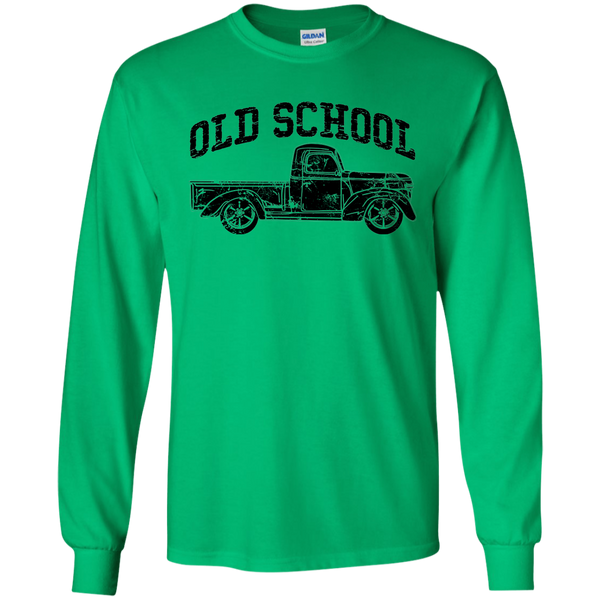 Old School Vintage Distressed Antique Truck Long Sleeve Tee Green