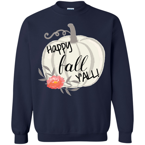 Happy Fall Y'all Watercolor Pumpkin Crewneck Sweatshirt Navy