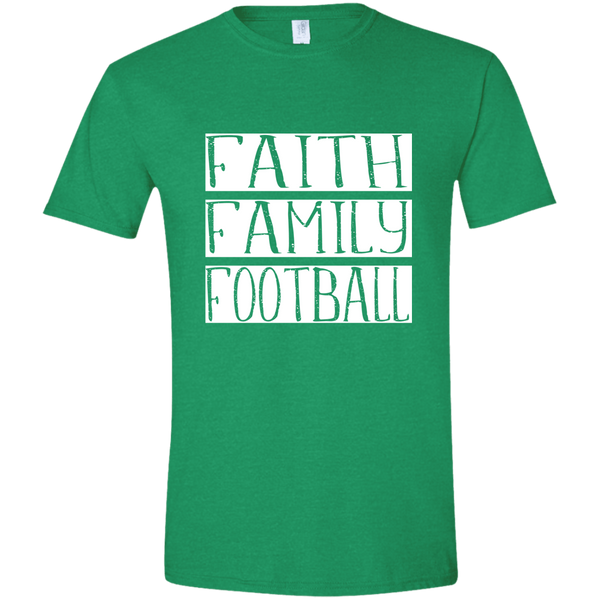Faith Family Football Soft Tee Shirt Green