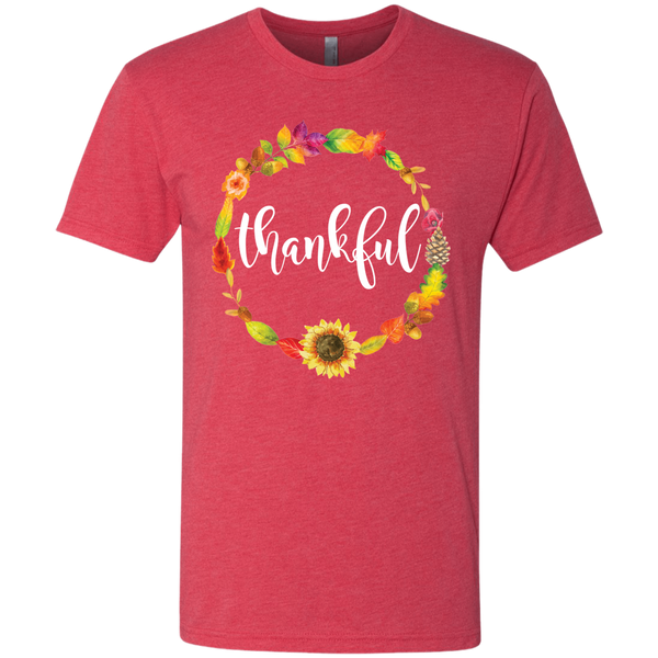 Thankful Floral Wreath Soft Tee Shirt Red