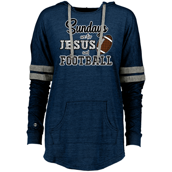Sundays are for Jesus and Football Long Sleeve Raglan Hoodie Vintage Navy