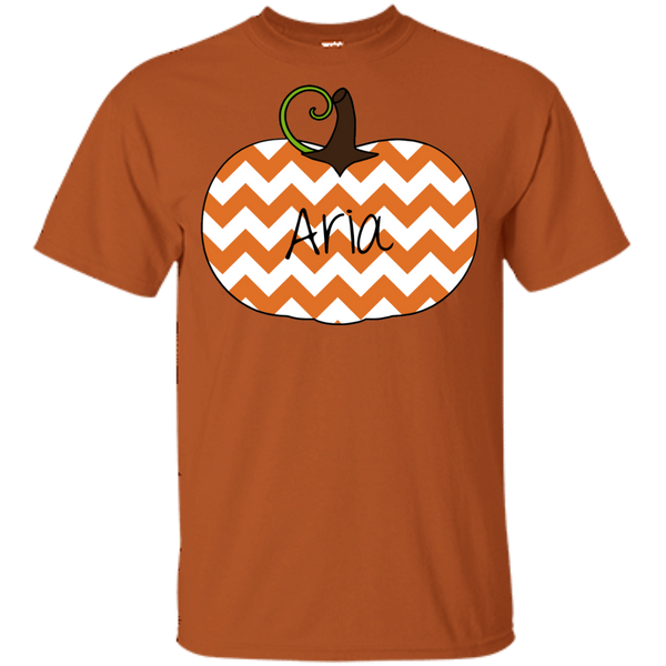Kids Personalized Chevron Pumpkin Tee Shirt Orange