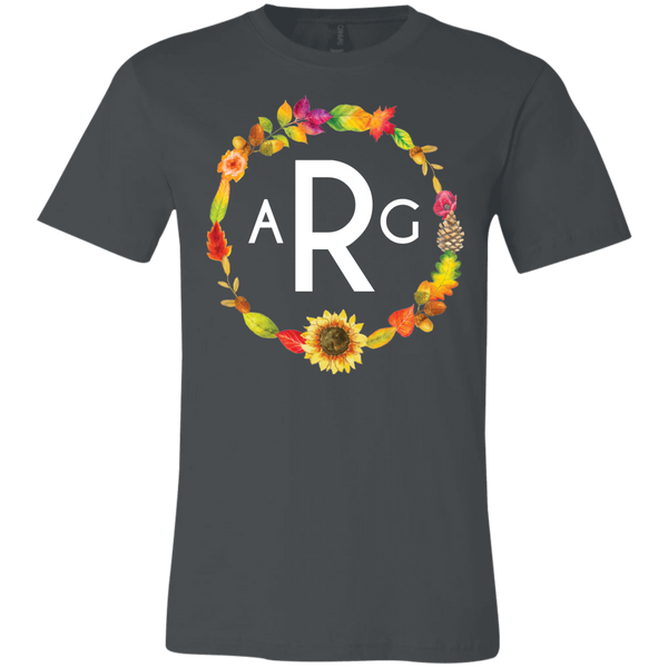 Personalized Fall Wreath Monogram Tee Shirt Dark Grey