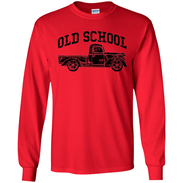 Old School Vintage Distressed Antique Truck Long Sleeve Tee Red