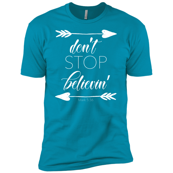 Don't stop believin' Mark 5:36 arrows tee shirt tahiti blue