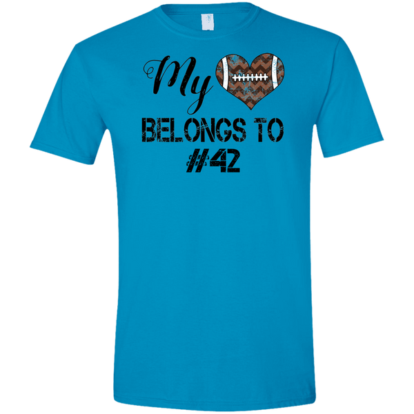 My Heart Belongs to Personalized Football Tee Shirt Blue