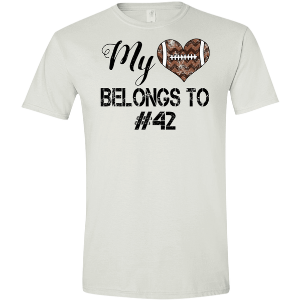 My Heart Belongs to Personalized Football Tee Shirt White