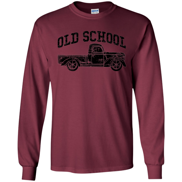 Old School Vintage Distressed Antique Truck Long Sleeve Tee Maroon