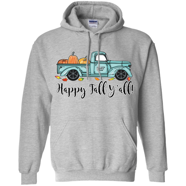 Happy Fall Y'all Pumpkin Farm Truck Hoodie Sweatshirt Sport Grey
