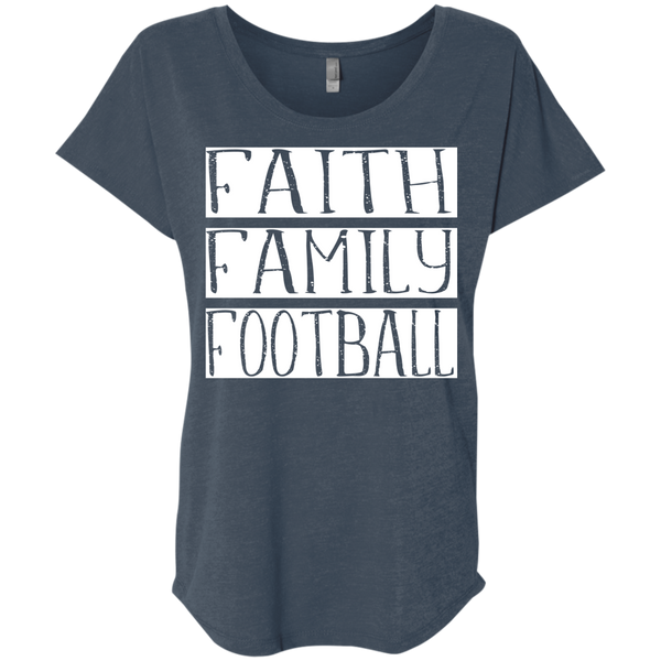 Faith Family Football Flowy Dolman sleeve tee indigo