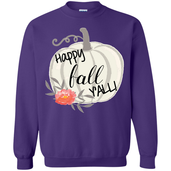 Happy Fall Y'all Watercolor Pumpkin Crewneck Sweatshirt purple