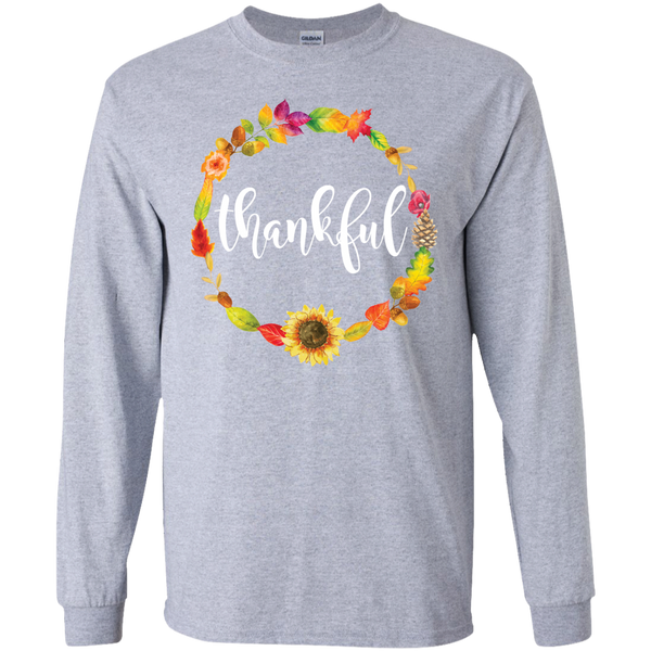 Thankful Floral Wreath Long Sleeve Tee