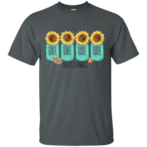 Mason Jar Sunflowers Fall Blessings Tee Shirt dark grey