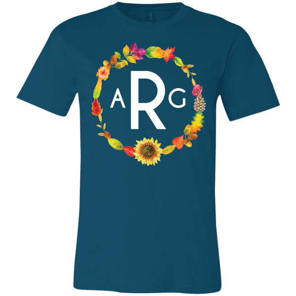 Personalized Fall Wreath Monogram Tee Shirt Deep Teal