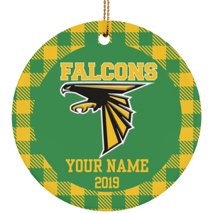 Lake County Falcons Personalized Buffalo Plaid Ornament