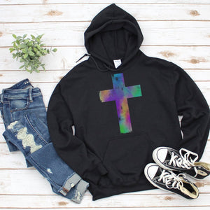 Watercolor Distressed Cross Hoodie