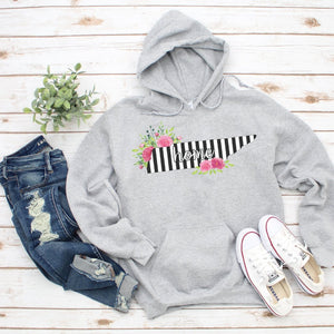 Tennessee Home Striped Floral Hoodie