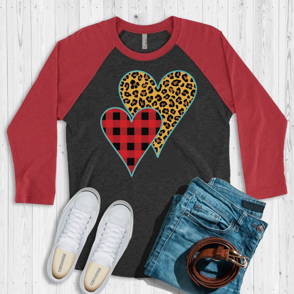 Buffalo Plaid Leopard Print Heart 3/4 Sleeve Raglan Tee