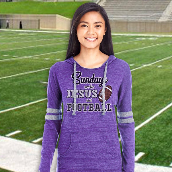 Sundays are for Jesus and Football Long Sleeve Raglan Hoodie