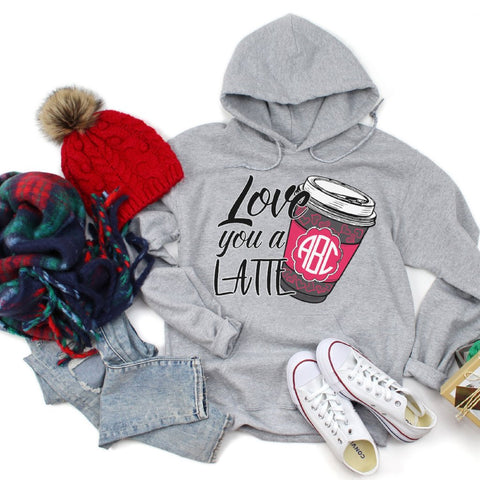 Love You A Latte Monogrammed Hoodie