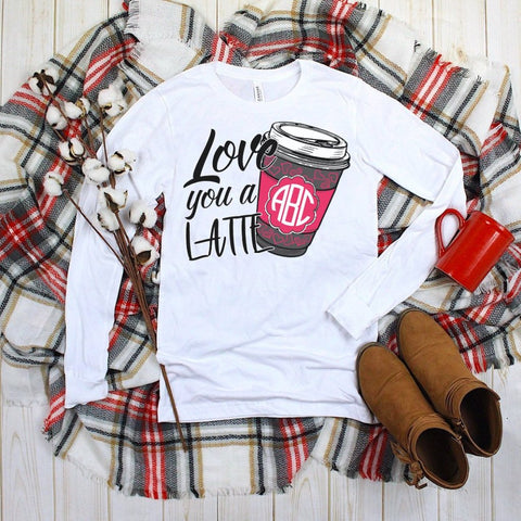 Love You A Latte Monogrammed Long Sleeve Tee