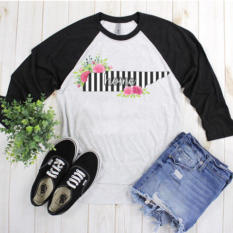 Tennessee Home Striped Floral Raglan Tee