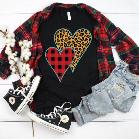 Buffalo Plaid Leopard Print Heart Soft Tee